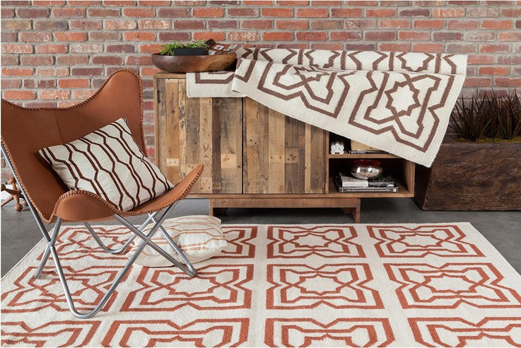 Lima Collection Hand-Woven Area Rug, Beige & Red