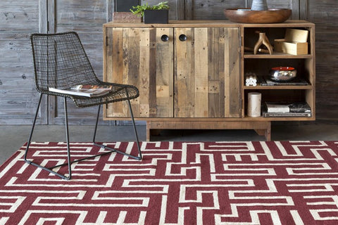 Lima Collection Hand-Woven Area Rug, Red design by Chandra rugs