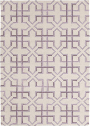 Lima Collection Hand-Woven Area Rug, Beige & Purple