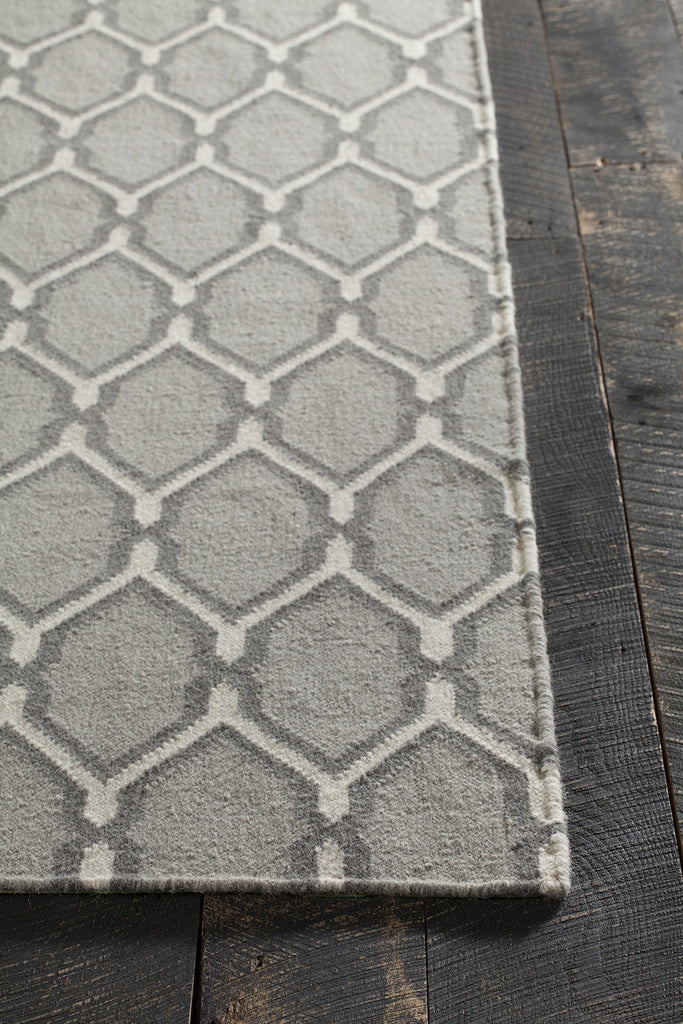 Lima Collection Flat-weaved Reversible Wool/Cotton Rug in Grey design by Chandra Rugs