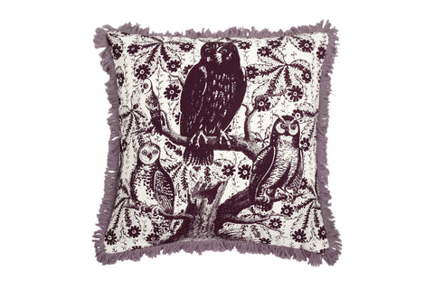 Hoot Linen Pillow in Eggplant design by Thomas Paul