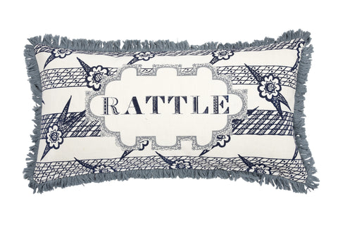 Rattle Linen Pillow in Eclipse design by Thomas Paul