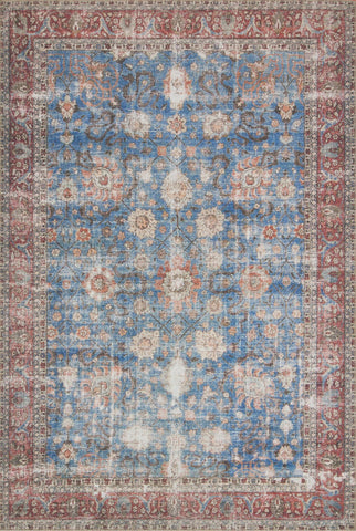 Loren Rug in Blue & Brick by Loloi
