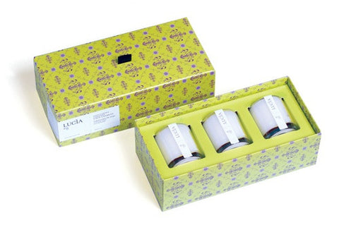 Lucia Thyme Flower & Coriander Votive Trio Set design by Lucia