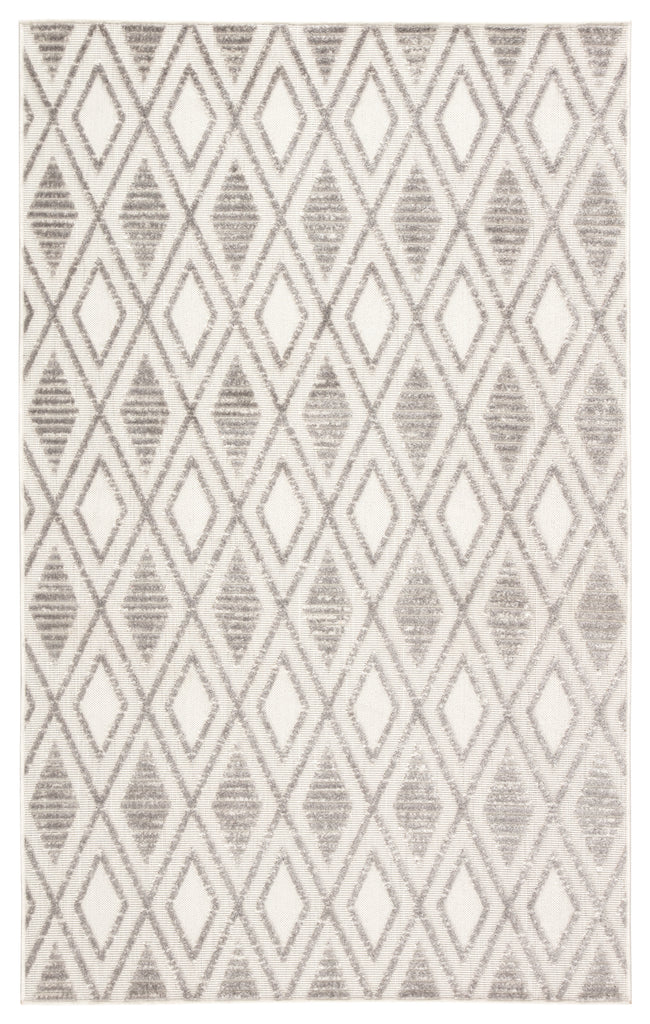 Meira Indoor/ Outdoor Trellis Gray/ White Rug design by Jaipur Living