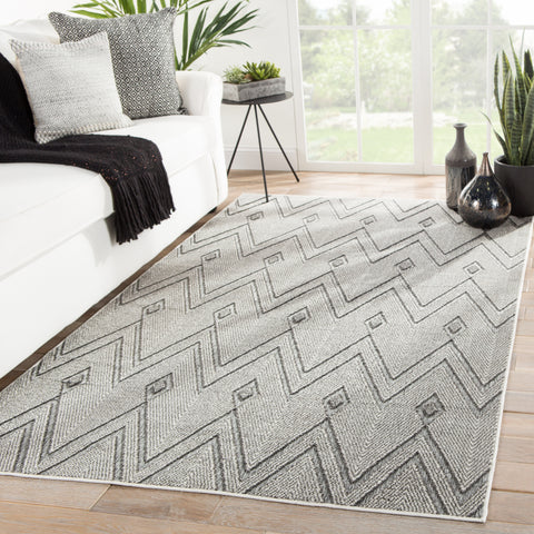 Luz Indoor/ Outdoor Chevron Gray Rug design by Jaipur