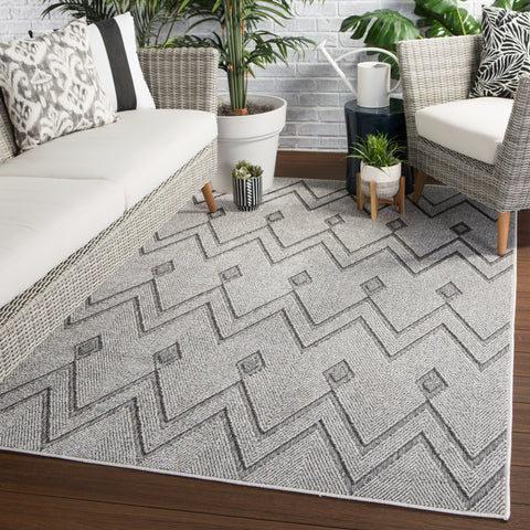 Luz Indoor/ Outdoor Chevron Gray Rug design by Jaipur Living