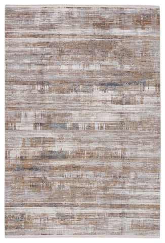 Denman Abstract Rug in Gray & Gold