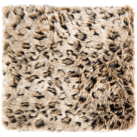 Lewa LWA-1000 Faux Fur Throw in Black & Camel by Surya