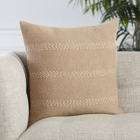 Trenton Stripes Pillow in Taupe & Cream by Jaipur Living
