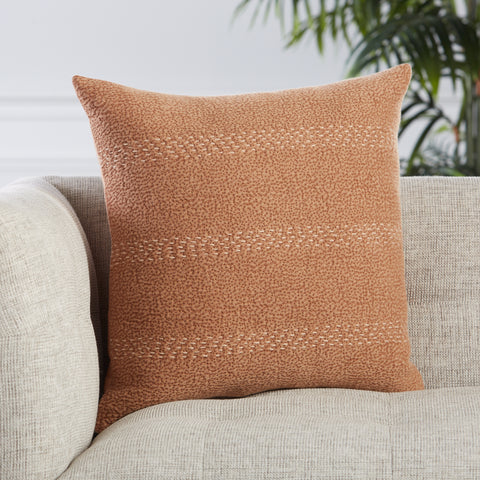 Trenton Stripes Pillow in Terracotta & Beige by Jaipur Living