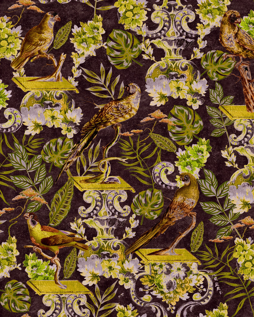 Sample La Voliere Wallpaper in Dark from the Wallpaper Compendium Collection by Mind the Gap