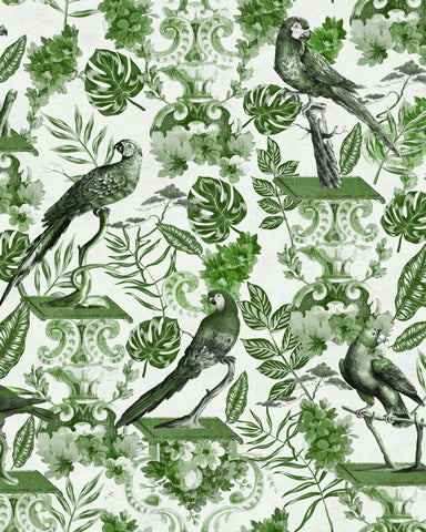 La Voliere Wallpaper in Green from the Wallpaper Compendium Collection by Mind the Gap