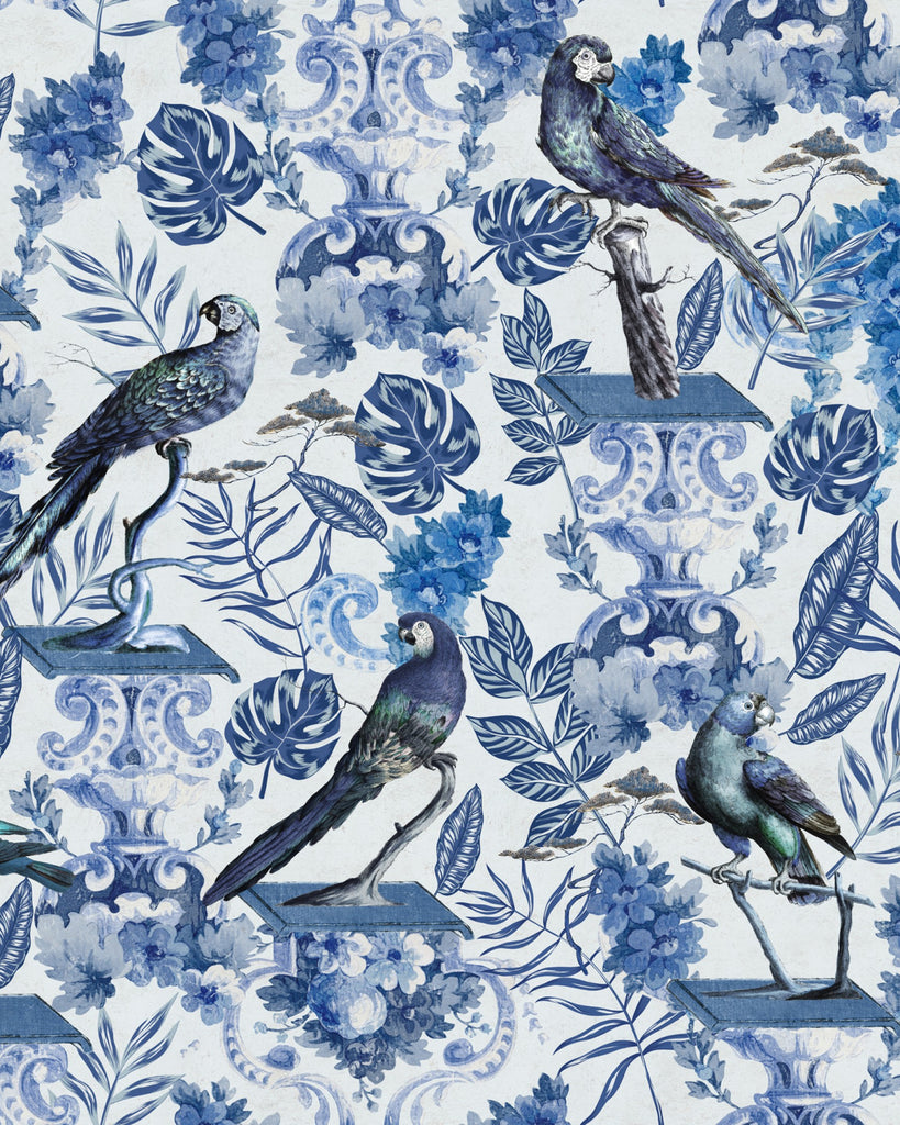 Sample La Voliere Wallpaper in Indigo and White from the Wallpaper Compendium Collection by Mind the Gap