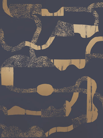La Strada Wallpaper in Gold and Charcoal by Juju
