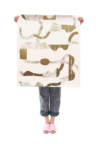 La Strada Wallpaper in Gold and Cream by Juju