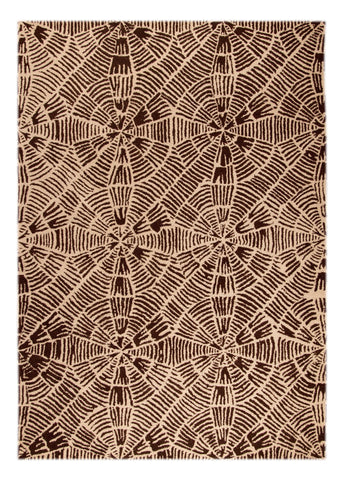 Labyrinth Collection Hand Tufted Wool Area Rug in Beige and Brown design by Mat the Basics