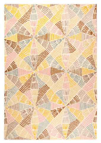 Labyrinth Collection Hand Tufted Wool Area Rug in Multi design by Mat the Basics