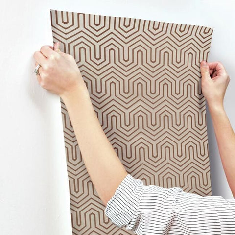 Labyrinth Wallpaper in Glint and Silver from the Geometric Resource Collection by York Wallcoverings