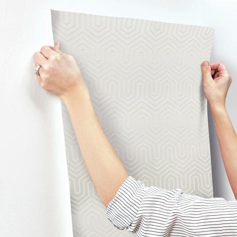 Labyrinth Wallpaper in Pearl and White from the Geometric Resource Collection by York Wallcoverings