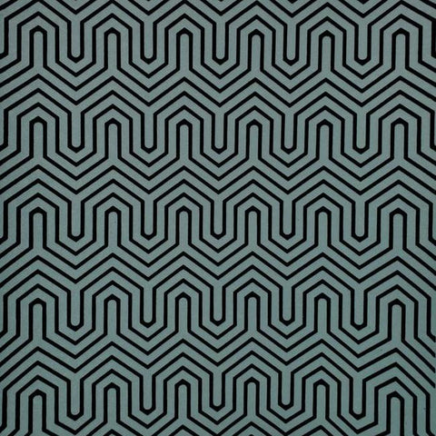 Labyrinth Wallpaper in Teal and Black from the Geometric Resource Collection by York Wallcoverings