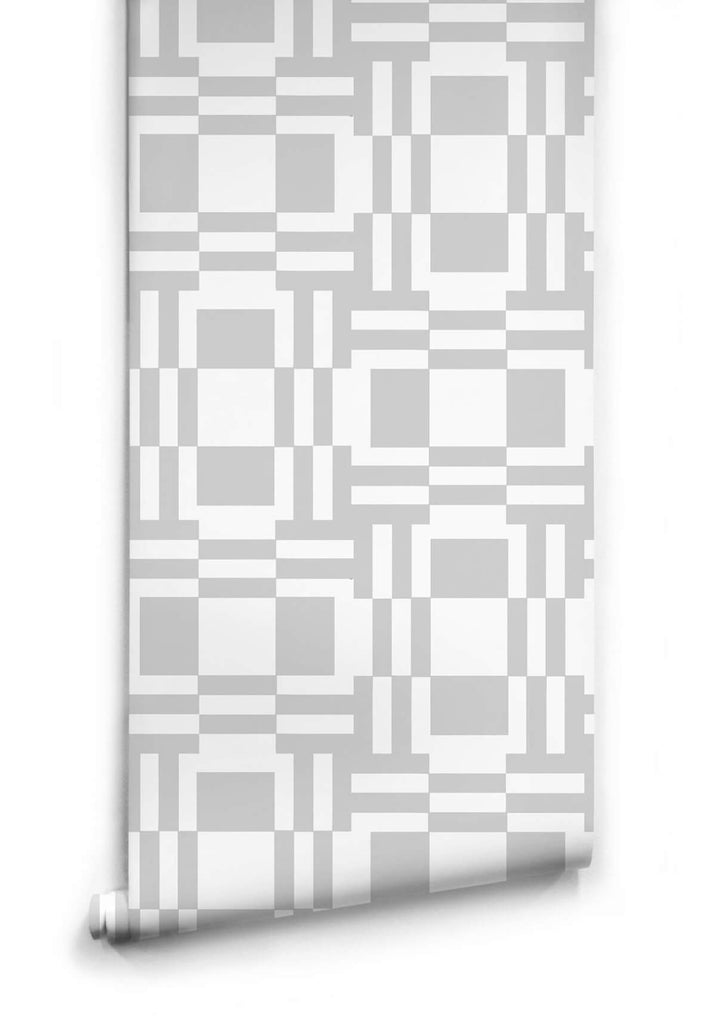 Sample Labyrinth of Mirrors Wallpaper in Grey from the Ella & Sofia Collection by Milton & King