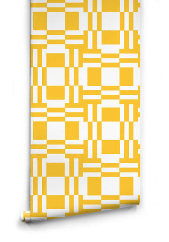 Labyrinth of Mirrors Wallpaper in Yellow from the Ella & Sofia Collection by Milton & King