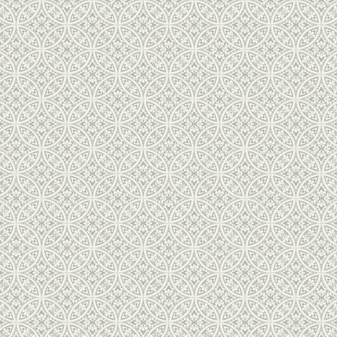 Lacey Circle Geo Wallpaper in Grey from the Silhouettes Collection by York Wallcoverings