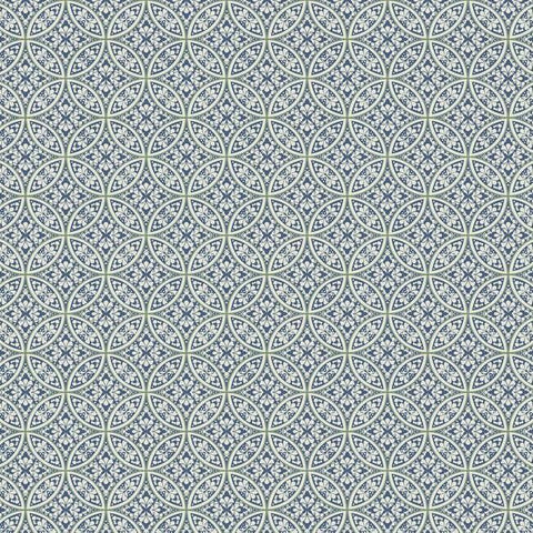 Lacey Circle Geo Wallpaper in Navy from the Silhouettes Collection by York Wallcoverings