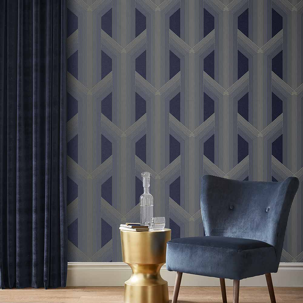 Lagom Geo Wallpaper in Navy and Gold from the Exclusives Collection by Graham & Brown