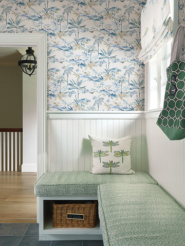 Lagoon Blue Watercolor Wallpaper from the Seaside Living Collection by Brewster Home Fashions