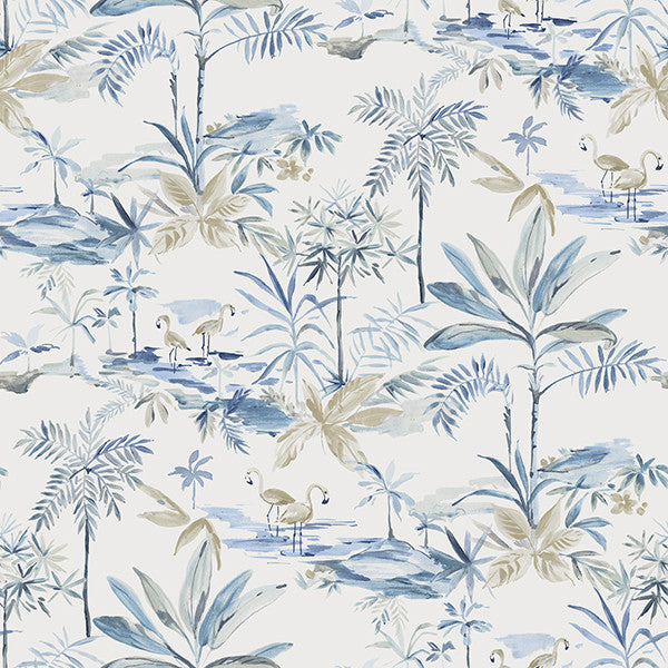 Sample Lagoon Blue Watercolor Wallpaper from the Seaside Living Collection by Brewster Home Fashions