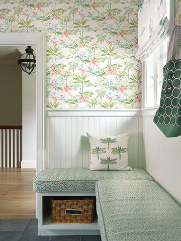 Lagoon Green Watercolor Wallpaper from the Seaside Living Collection by Brewster Home Fashions