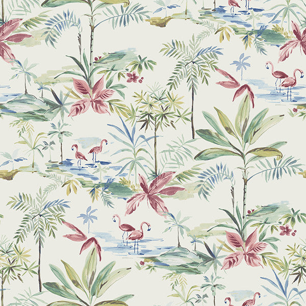 Sample Lagoon Teal Watercolor Wallpaper from the Seaside Living Collection by Brewster Home Fashions