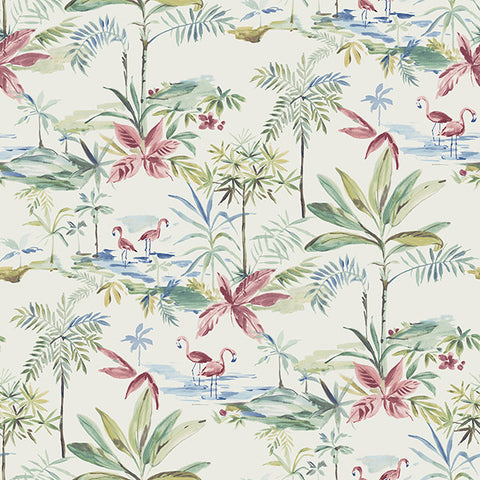 Lagoon Teal Watercolor Wallpaper from the Seaside Living Collection by Brewster Home Fashions