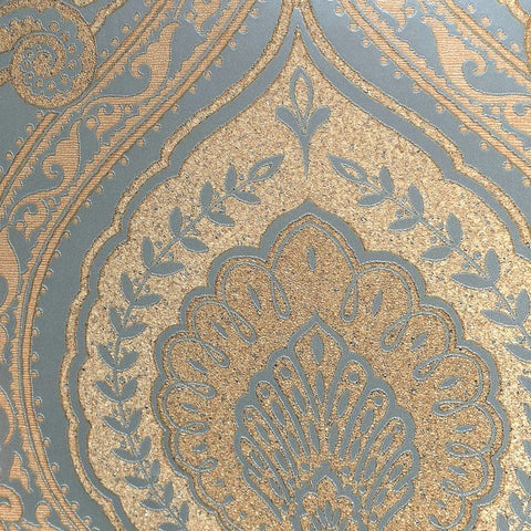 Lana Classic Damask Wallpaper in Gold and Metallic Turquoise by BD Wall