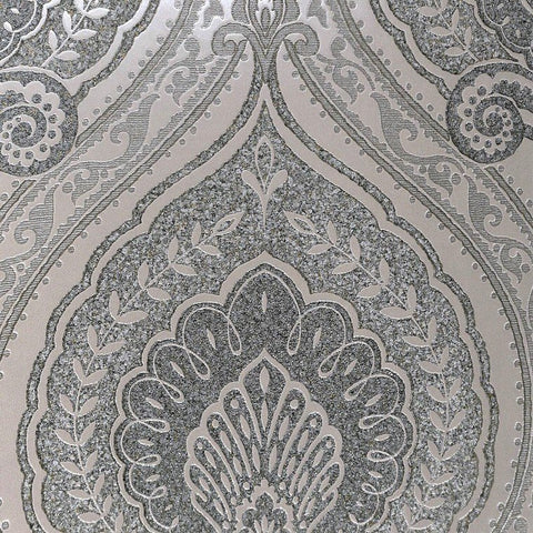 Lana Classic Damask Wallpaper in Metallic and Grey-Pearl by BD Wall