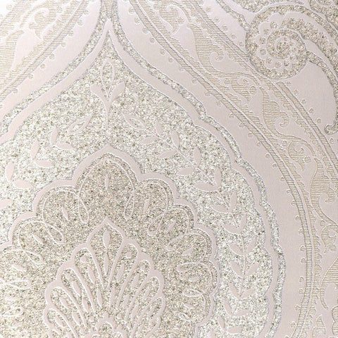 Lana Classic Damask Wallpaper in Metallic and Medium Pearl by BD Wall