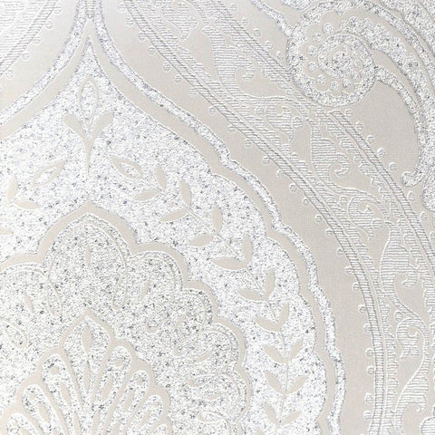 Lana Classic Damask Wallpaper in Metallic and Pearl by BD Wall