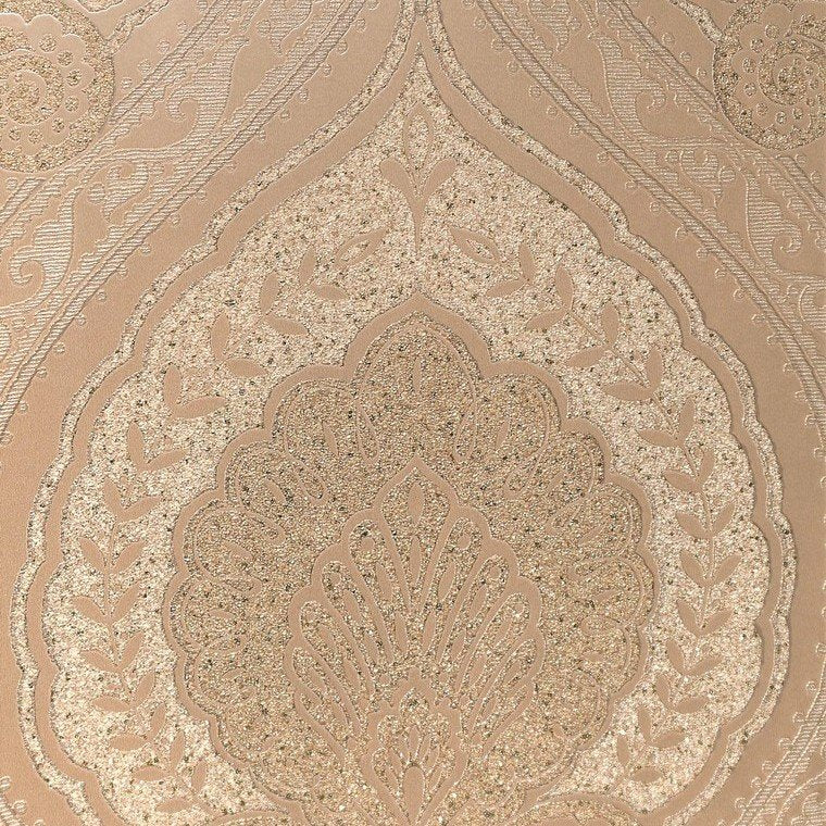 Lana Classic Damask Wallpaper in Metallic and Soft Bronze by BD Wall