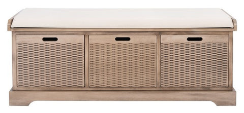 Landers 3-Drawer Cushion Bench in Sand