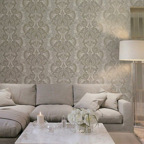 Lanette Damask Wallpaper in Metallic and Pearl by BD Wall