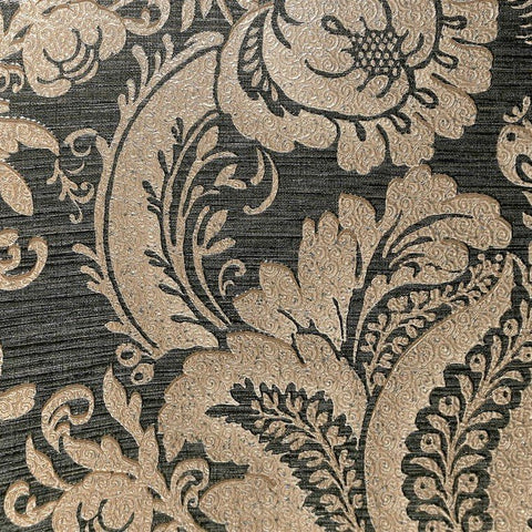 Lanette Damask Wallpaper in Metallic Black and Gold by BD Wall
