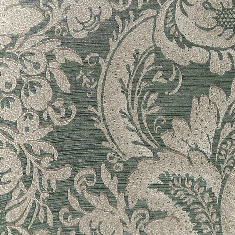 Lanette Damask Wallpaper in Metallic Green by BD Wall