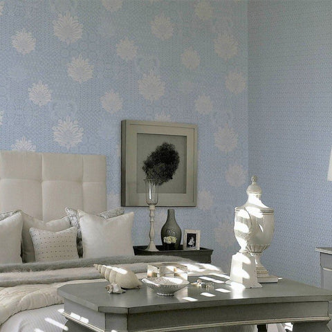 Lani Textured Floral Geometric Wallpaper in Soft Blue and Pearl by BD Wall