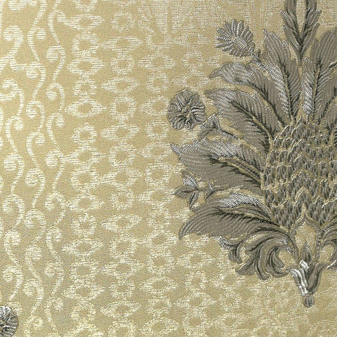 Lani Textured Floral Geometric Wallpaper in Gold and Pearl by BD Wall