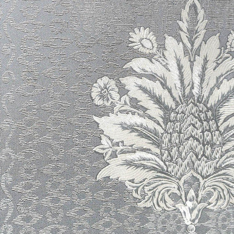 Sample Lani Textured Floral Geometric Wallpaper in Grey and Pearl by BD Wall