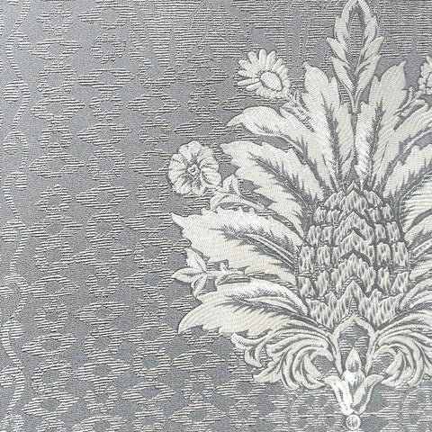 Lani Textured Floral Geometric Wallpaper in Grey and Pearl by BD Wall