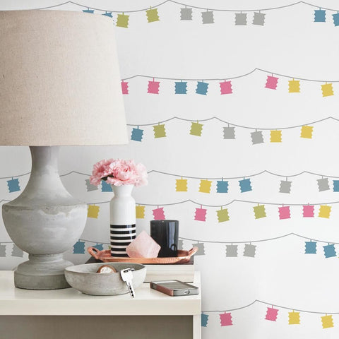 Lanterns Peel & Stick Wallpaper in Pink Multi by RoomMates for York Wallcoverings