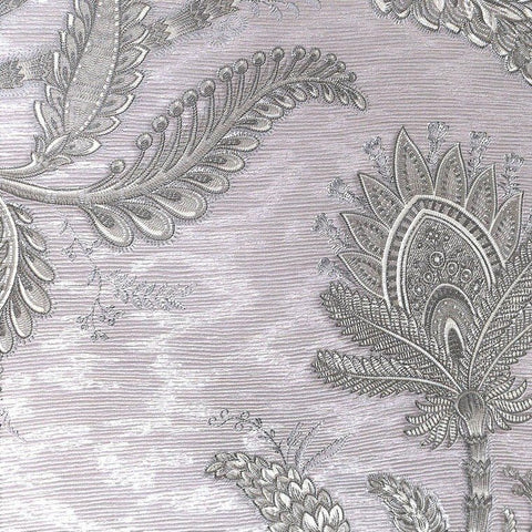 Larina Floral Textured Wallpaper in Metallic Grey by BD Wall